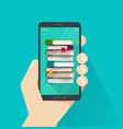 books on mobile phone screen vector image