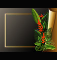 border template with golden frame and flowers vector image