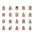 cactus icon and symbol set in color outline design vector image vector image