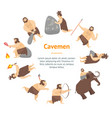 cartoon characters caveman cute people banner card vector image vector image