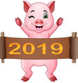 cartoon little pig with chinese scroll 2019 chine vector image