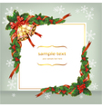 Christmas card with bells and berry vector image vector image