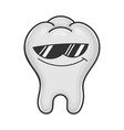cool sunglasses tooth cartoon vector image vector image