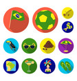 country brazil flat icons in set collection for vector image vector image