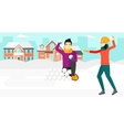Couple playing in snowballs vector image