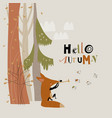 cute fox playing pipe for birds in autumn vector image vector image