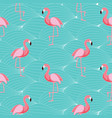 cute retro seamless flamingo pattern background vector image vector image