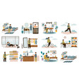 daily man routine everyday young guy life vector image vector image