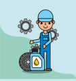 employee with wheel and oil bottle car service vector image vector image