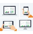 Flat infographic with graphs and charts vector image vector image
