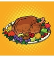 Fried Turkey dish on Thanksgiving day vector image vector image