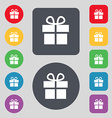 Gift box icon sign A set of 12 colored buttons vector image vector image
