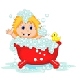 Girl cartoon bathing in the red bath tub vector image