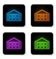 glowing neon warehouse icon isolated on white vector image