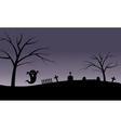 Halloween ghost in tomb silhouette vector image vector image