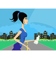 Jogging girl in city vector image