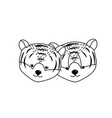line cute tiger head animal couple together vector image vector image