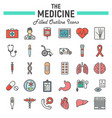 medicine filled outline icon set medical symbols vector image vector image