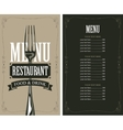 menu with fork vector image vector image