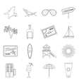 Miami icons set outline style vector image vector image