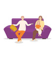people sitting on sofa young family together vector image vector image