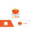 pot and open book logo combination kitchen vector image