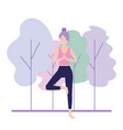 relax woman doing exercise posture vector image