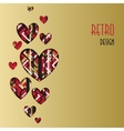 Retro love card Heart design with golden vector image vector image