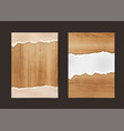 ripped paper on texture of wood background vector image