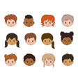 set children faces different races vector image