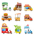 set of street vehicles buses minivans trucks vector image vector image