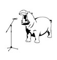singing hippo vector image