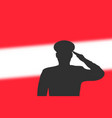 solder silhouette on blur background with austria vector image vector image