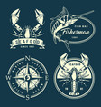 vintage monochrome nautical and marine labels vector image vector image