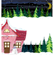 Winter house and smiling snowman vector image vector image