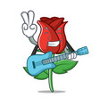 with guitar red rose mascot cartoon vector image