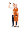 young smiling man and woman standing together vector image vector image