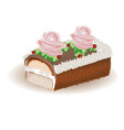 cake roll with butter cream vector image