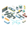 airport isometric set vector image vector image