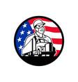 american trucker wearing mask usa flag circle vector image