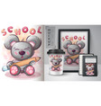 bear loves to study poster and merchandising vector image