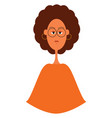 beautiful curly cartoon girl on white background vector image vector image