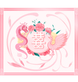 Chinese wedding card with pink dragon and phoenix vector image vector image