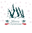 Christmas greeting card with silhouettes of trees vector image