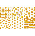 collection seamless patterns gold bitcoin coins vector image