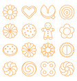 cookie cracker and biscuit outline icon set 3 vector image vector image