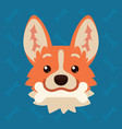 corgi dog emotional head with bone in mouth vector image vector image