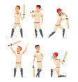 cricket characters set various sport players vector image vector image