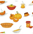 delicious pumpkin dishes for main course and vector image vector image