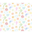 doodle colorful summer vacation seamless pattern vector image vector image